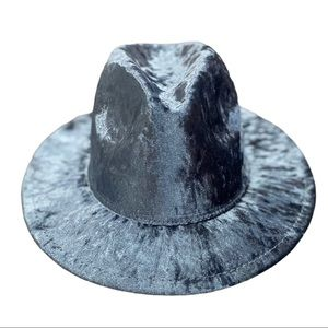 NEW Crush Velvet Blue Wide Brim Fedora Hat